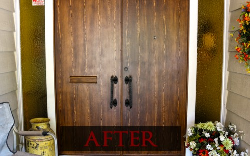 Plain wood door after faux wood paint