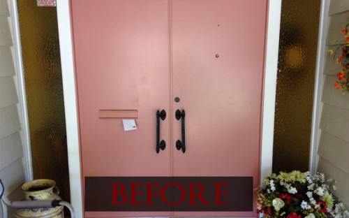 Plain wood door before refinish