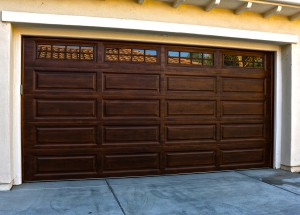 Garage Door with wood painted look